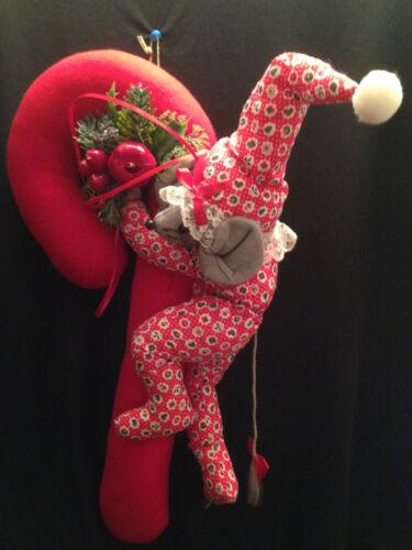 Vintage Handmade Large Christmas Red Candy Cane Stuffed Plush Mouse Pajamas