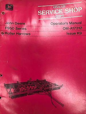 John Deere Operators Manual F950 Series Roller Harrows Oma17312 Used
