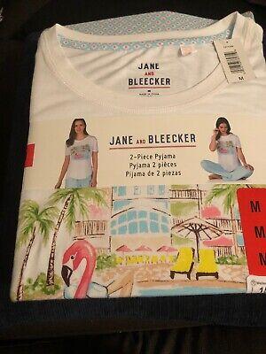 Jane and Bleecker 2 Piece PJ Set Pyjama Sleepwear Nightwear Ladies Women Medium