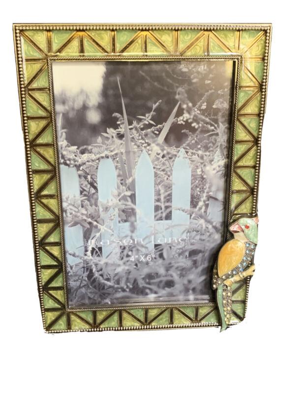 "Metal & Enamel Frame With Parakeet & Rhinestone Accents By Mason Lane 4""x6"""