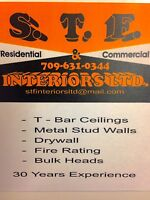 T-bar ceilings/ drywall/ metal stud walls
