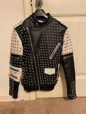 Zara Man Neo Punk Black/Beige Stud Jacket Size Small Brand New With Tag