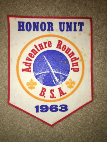 Boy Scout 1963 Honor Unit Adventure Roundup NASA Space Rocket Felt Flag Banner