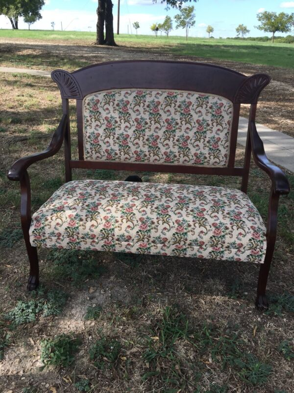 Outstanding Victorian Love Seat Sofa High Back Early 1900