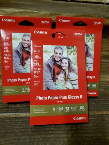 """Canon-300 Sheets Photo Paper Plus Glossy II-4"""" x 6""""- PP 301- (3 - 100ct packs)"""