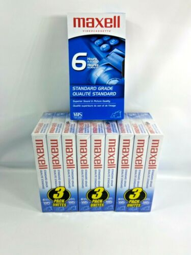 10 Maxell Standard Grade T-120 6 hour Blank VHS Video Cassette Tapes