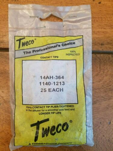 Tweco 14AH-364 Contact Tip for 200-400A #2-#4 & Spray Master Series MIG, 25PK