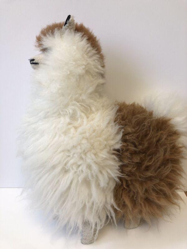 "Plush Alpaca Llama Artisan Stuffed Animal Real Fur Doll 18"""