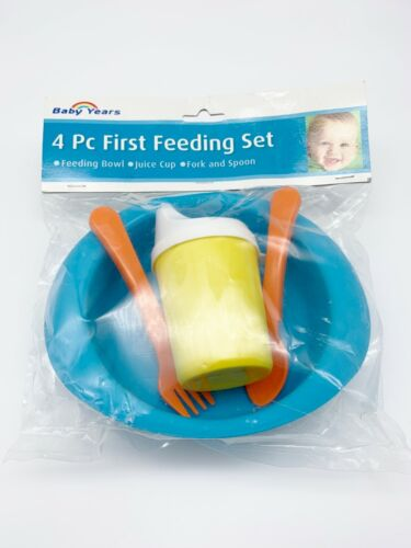 Baby Years 4 Piece First Feeding Set Multicolor Bowl, Juice Cup, Fork and Spoon