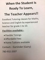 Excellent Home Tutoring classes for Maths,Science & English.