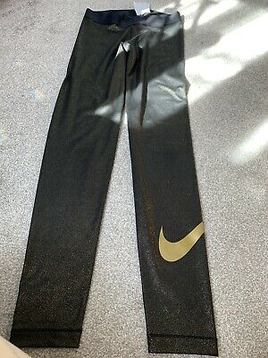 Nike Pro Black And Gold medium Gym Leggings