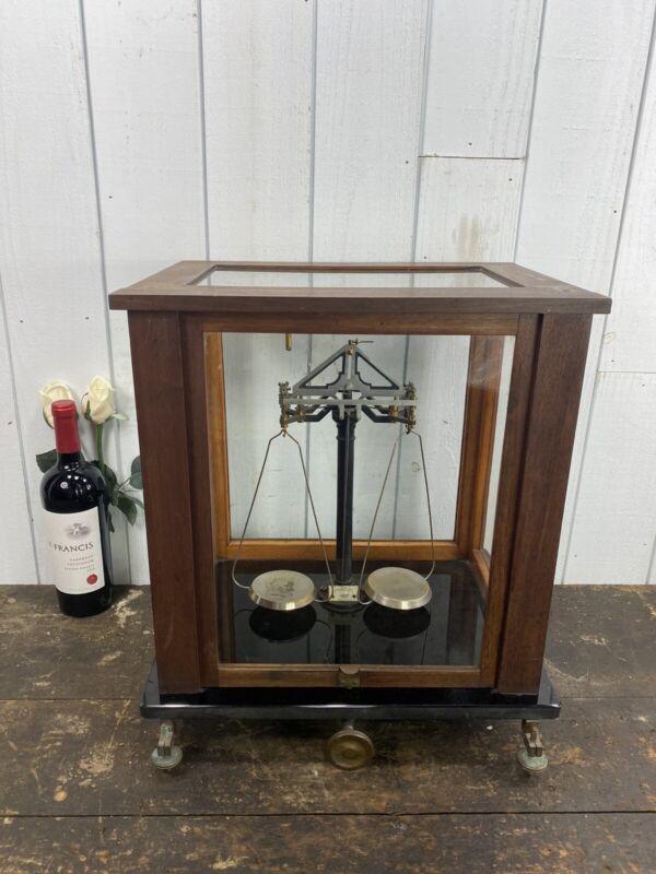 Antique F.Sartorius Scientific Apothecary German Scale In Glass Oak Case