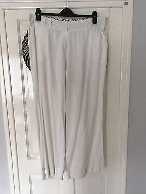 Ladies Peacocks White Linen Mix Trousers Size 16