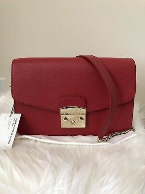 Furla Metropolis Small Leather Shoulder Bag Ruby Gold Chain Nwt  Price  428  Tax