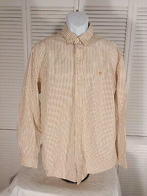 Used, Timberland men's size L button front striped shirt Brown Thin Soft F1 for sale  Perry