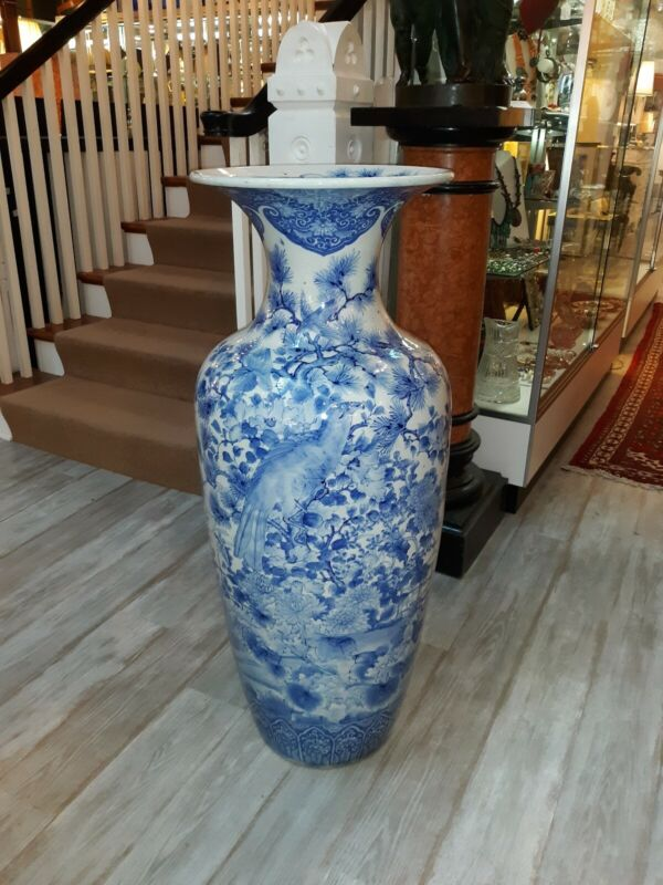 Large Antique Japanese Blue and White Porcelain Palace Vase With  Hawks 1800