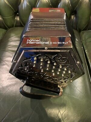 Hohner 40 Button Anglo Concertina D40/80/6LT 1980s Rare(inc Case)C/G