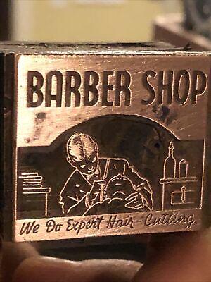 Vintage Wood Metal Metal Printing Print Block Stamps Barber Shop