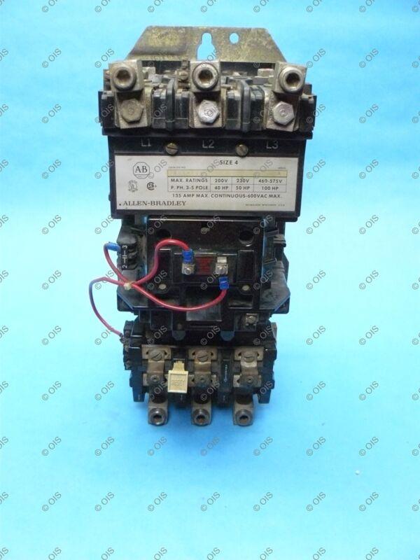 Allen Bradley 509-EOB Motor Starter NEMA Size 4, 135 Amp 3 Pole 120 VAC Coil