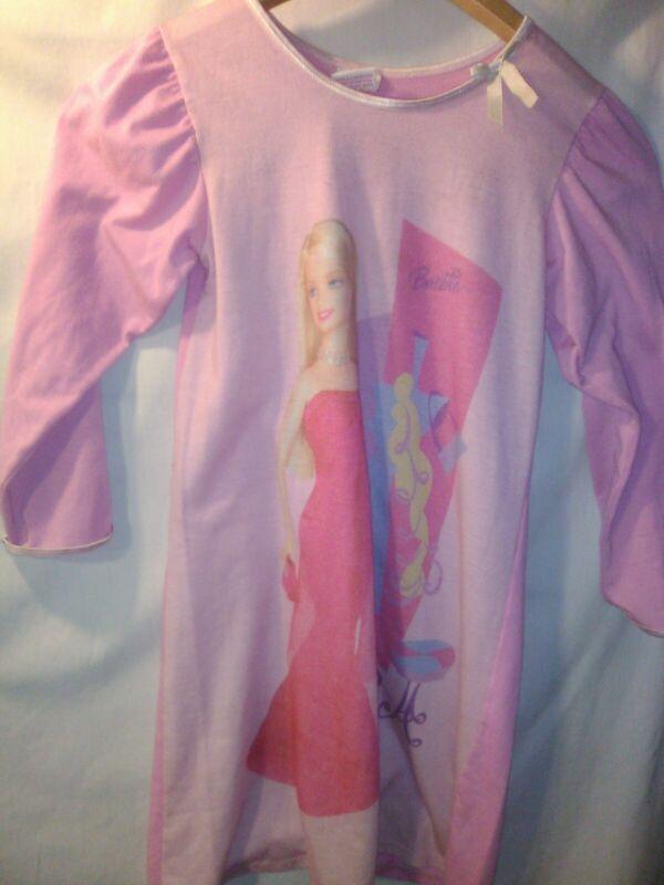 Vintage 2003 Mattel Barbie Pink Nightgown Girls Size 6 Warm Long Sleeve Winter