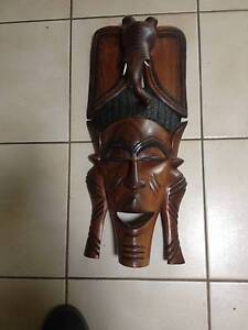 Large Carved Wooden African Tribal Art Wall Mask Cooloongup Rockingham Area Preview