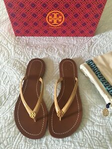 d6fd15869 Tory Burch TERRA Sun Beige Logo Flip Flop Thong Sandal Size 9.5 New In Box