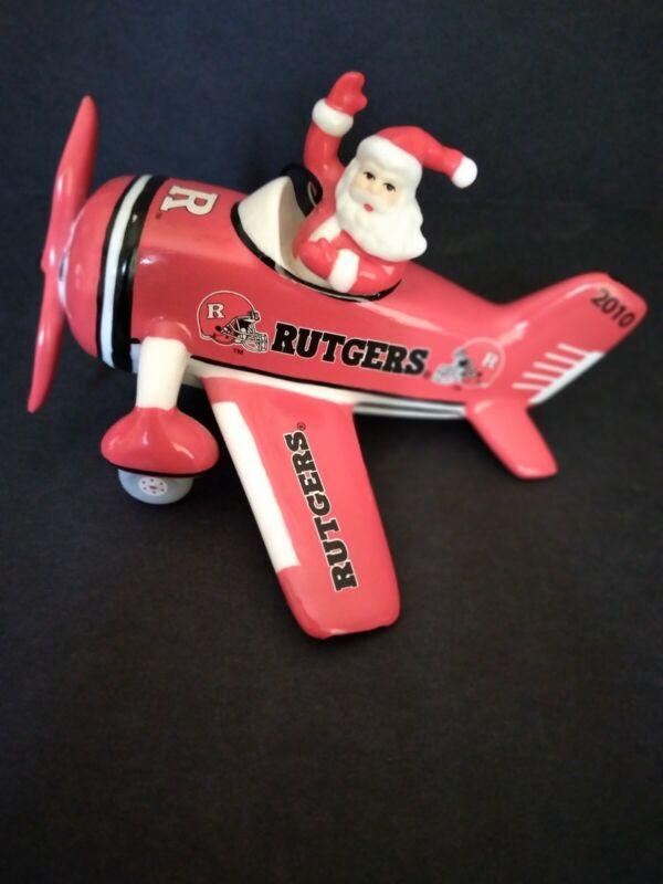 Rutgers University NJ Santa Claus Red Airplane Hanging Christmas Ornament 2010