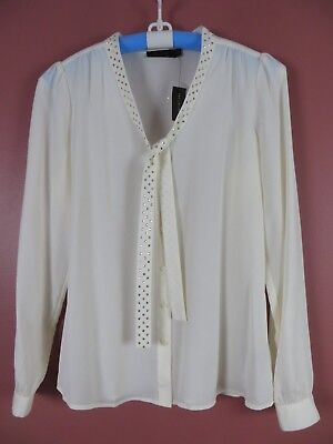 TB04759- NWT THE LIMITED Womens Polyester Blouse w/ Tie Sequined Ivory Sz M $54
