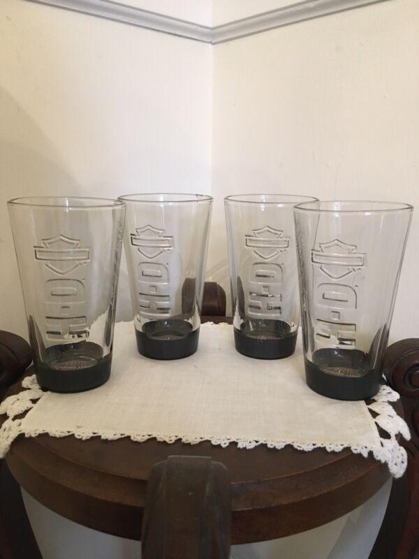 HARLEY-DAVIDSON H-D Set Of 4 Pint Glasses W/ Raised Logo