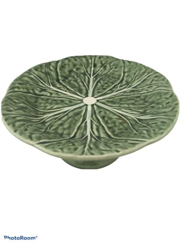 Bordallo Pinheiro Green Cabbage Pedestal Lettuce Leaf Stand Plate Cake Dessert