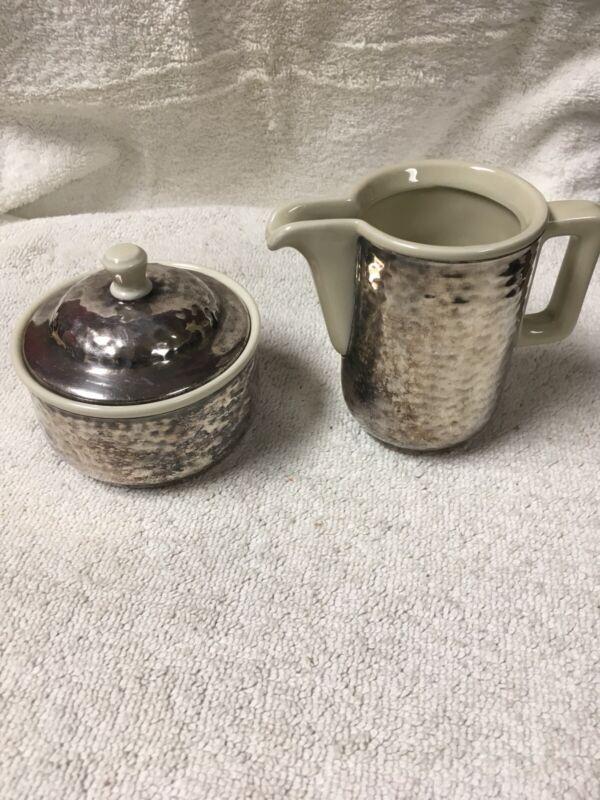 Vintage WMF Creamer And Lidded Sugar Bowl Hammered Silver Plate Porcelain Lined