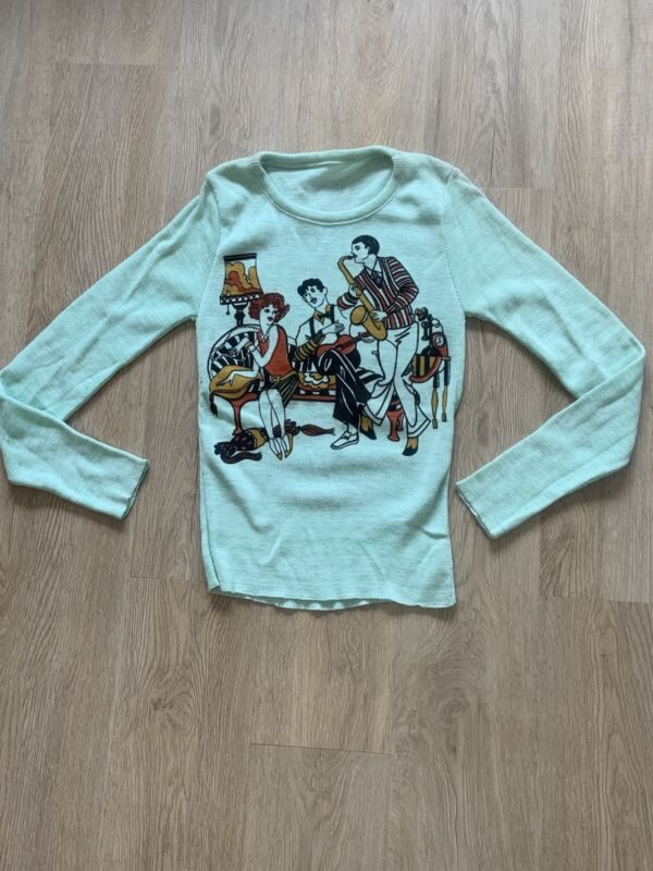 1970's Sweater With 1920's Swing Jazz Theme DEADSTOCK