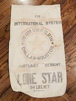 Rare Vintage Texas Portland Cement Co Cloth Bag Dallas Houston Bemis-ware Shoals
