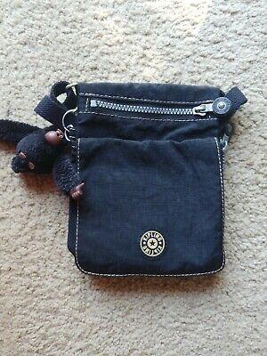 Vintage Kipling El Dorado Nylon Crossbody Mini Travel Bag Black Flap