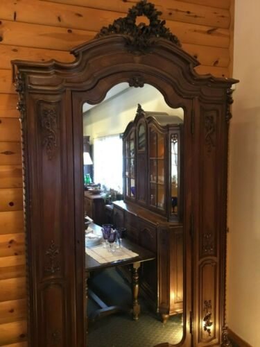 French Walnut Armoire with laurel crown