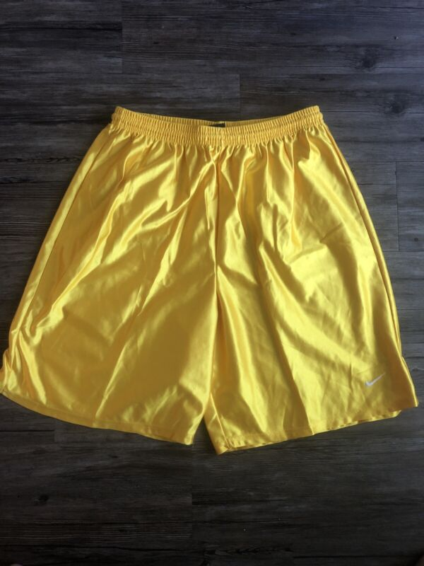 Nike Polyester Soccer Shorts Vintage Swoosh Men Sz Large Shiny Sexy Gold Yellow