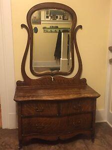Antique dresser, tiger cut oak