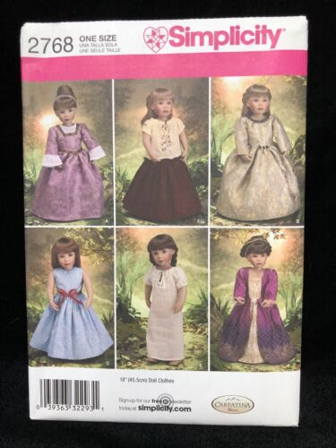 """Simplicity Sewing Pattern 2768 18"""" Doll Clothes"""
