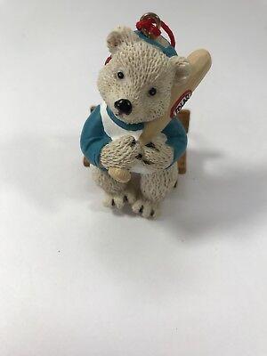 AVON Sports Bear Christmas Ornament, Baseball Polar Bear 1998 Vintage Tree Decor