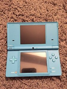Teal Nintendo DSi System with Charger and case.