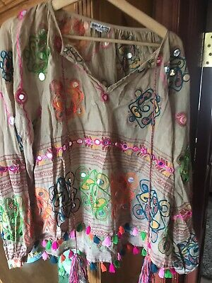 Juliet Dunn London Multi Coloured Long Sleeved Embroidered Top Size 2 UK 12