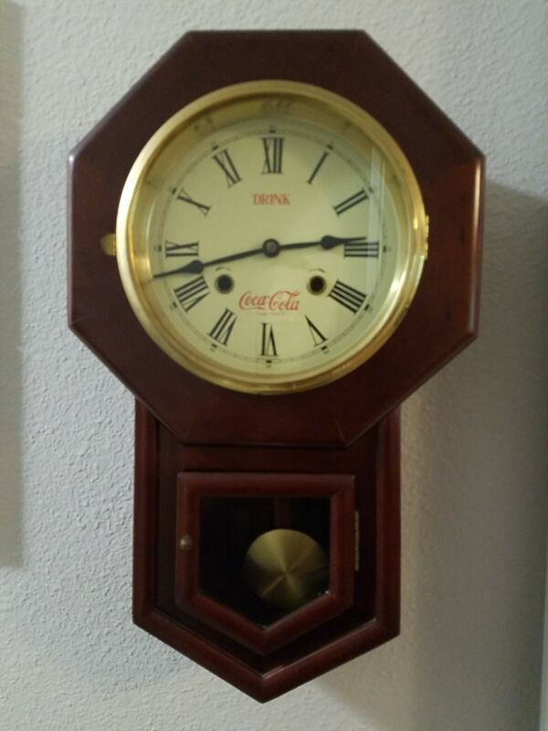 Vintage Coca-Cola Wooden Pendulum Wall Clock-Chimes And Looks Amazing!