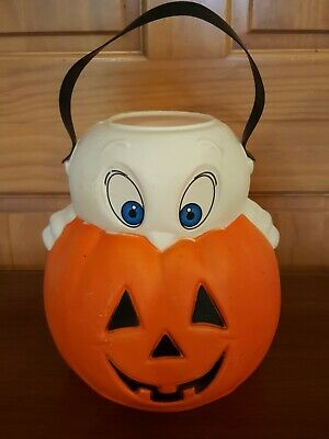 VINTAGE EMPIRE HALLOWEEN BLOW MOLD PUMPKIN GHOST TRICK OR TREAT CANDY PAIL 1995