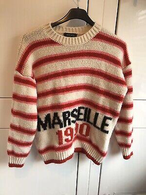 Vintage Style Red Cream Wool Jumper