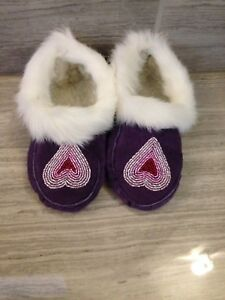 Child size handmade mocassins NEW NEVER WORN