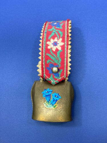 Vtg Souvenir Mini Cow or Goat Bell Brass Embroidery Strap Austria  Flowers