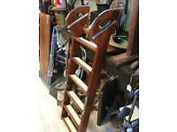 """Wood and Brass Boat Ladder 6 Steps 52""""  Long Open 30"""" Folded Beautiful Hardware"""