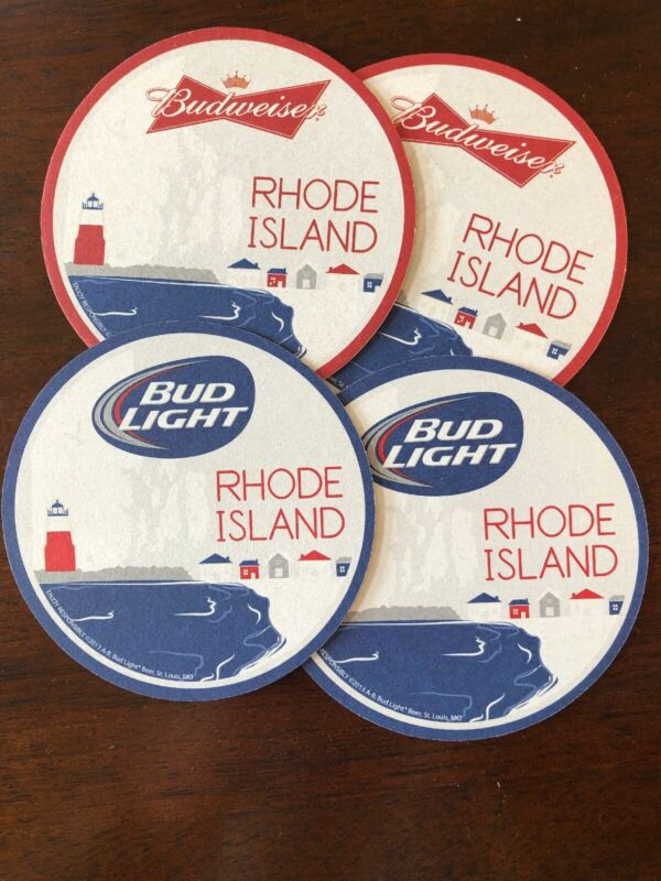Budweiser/Bud Light Rhode Island Coasters - Set of 4 Reversable Paper Coasters
