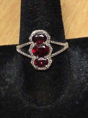 Sterling Silver Designer Garnet Ring Size 10 -