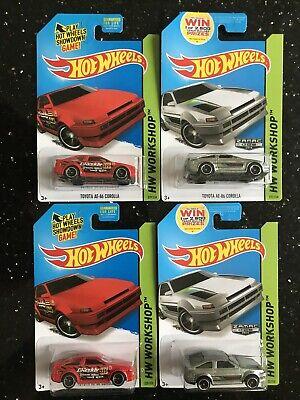 Hot wheels - Toyota AE-86 Corolla Zamac & Toyota AE-86 Corolla Red - Lot of 4